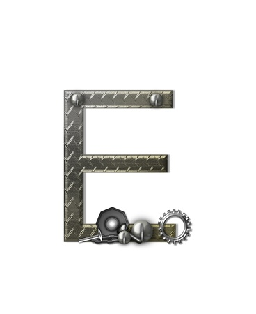 isolated: The letter E, in the alphabet set Metal Shop, is a chrome colored letter with etched texture.  Letter is decorated with nuts, bolts and screws.  Top of letter has rivets. Stock Photo