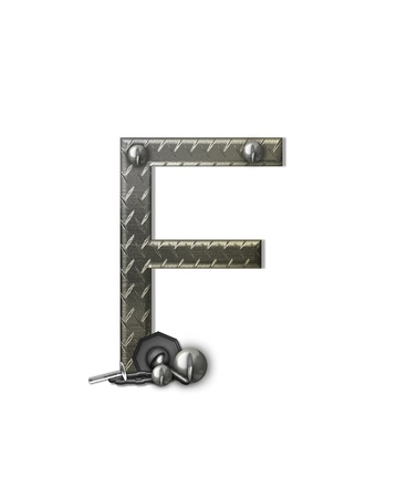 metal structure: The letter F, in the alphabet set Metal Shop, is a chrome colored letter with etched texture.  Letter is decorated with nuts, bolts and screws.  Top of letter has rivets.