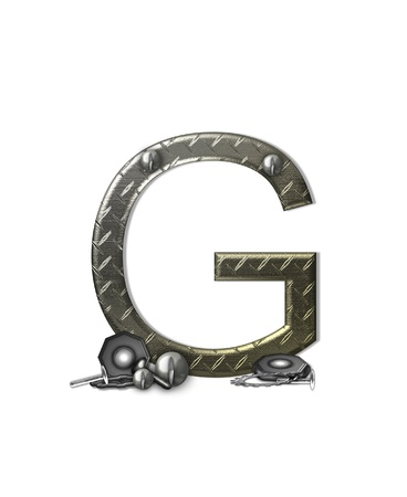 The letter G, in the alphabet set 'Metal Shop', is a chrome colored letter with etched texture.  Letter is decorated with nuts, bolts and screws.  Top of letter has rivets. photo