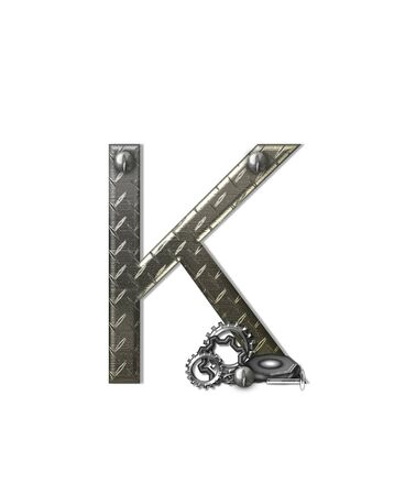 aluminum: The letter K, in the alphabet set Metal Shop, is a chrome colored letter with etched texture.  Letter is decorated with nuts, bolts and screws.  Top of letter has rivets.
