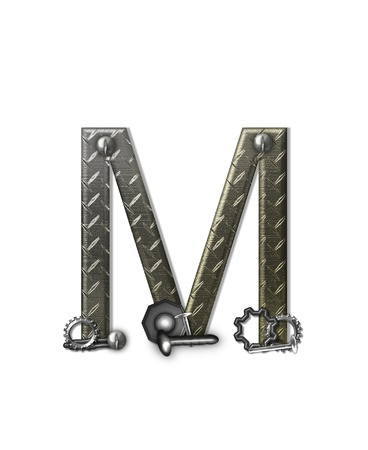 The letter M, in the alphabet set Metal Shop, is a chrome colored letter with etched texture.  Letter is decorated with nuts, bolts and screws.  Top of letter has rivets. Stock Photo