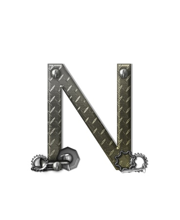 The letter N, in the alphabet set Metal Shop, is a chrome colored letter with etched texture.  Letter is decorated with nuts, bolts and screws.  Top of letter has rivets. Stock Photo