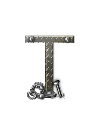 typographiy: The letter T, in the alphabet set Metal Shop, is a chrome colored letter with etched texture.  Letter is decorated with nuts, bolts and screws.  Top of letter has rivets.
