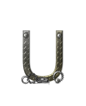 typographiy: The letter U, in the alphabet set Metal Shop, is a chrome colored letter with etched texture.  Letter is decorated with nuts, bolts and screws.  Top of letter has rivets.
