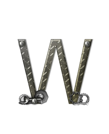 The letter W, in the alphabet set 'Metal Shop', is a chrome colored letter with etched texture.  Letter is decorated with nuts, bolts and screws.  Top of letter has rivets. photo