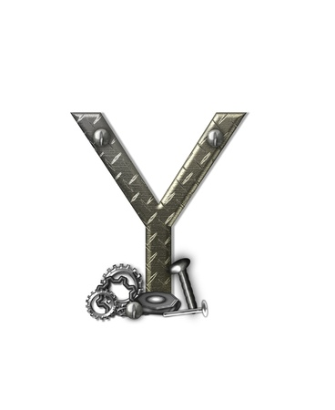 metal structure: The letter Y, in the alphabet set Metal Shop, is a chrome colored letter with etched texture.  Letter is decorated with nuts, bolts and screws.  Top of letter has rivets.