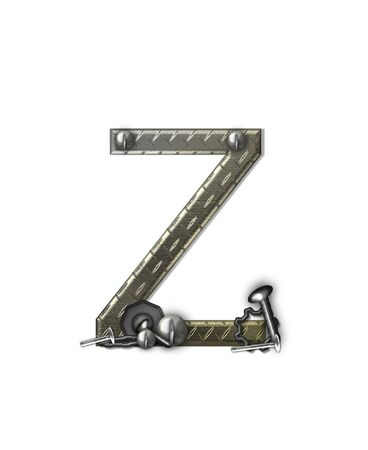 metal structure: The letter Z, in the alphabet set Metal Shop, is a chrome colored letter with etched texture.  Letter is decorated with nuts, bolts and screws.  Top of letter has rivets. Stock Photo