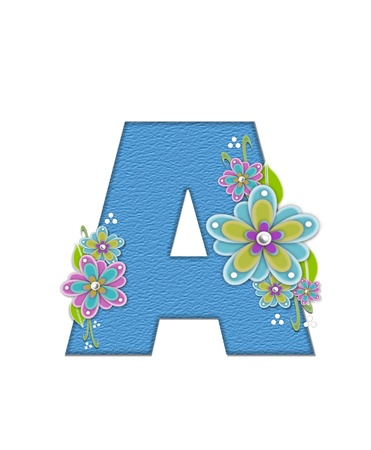 The letter A, in the alphabet set Alexis is blue with crinkled texture.  Letter is decorated with paper flowers, leaves and dots.