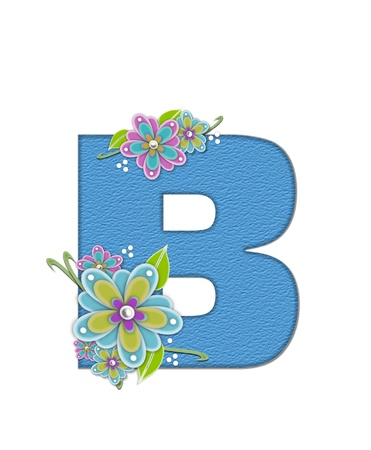 The letter B, in the alphabet set Alexis is blue with crinkled texture.  Letter is decorated with paper flowers, leaves and dots.