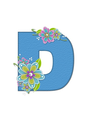 The letter D, in the alphabet set Alexis is blue with crinkled texture.  Letter is decorated with paper flowers, leaves and dots. Stock Photo