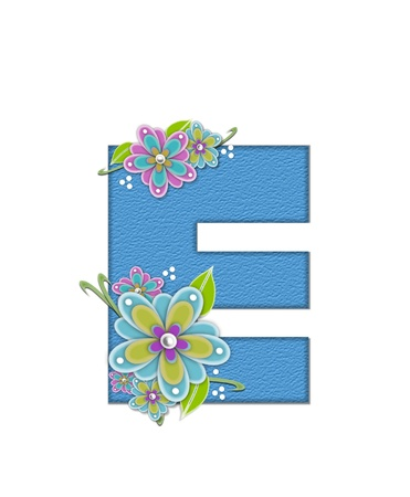 english letters: The letter E, in the alphabet set Alexis is blue with crinkled texture.  Letter is decorated with paper flowers, leaves and dots.