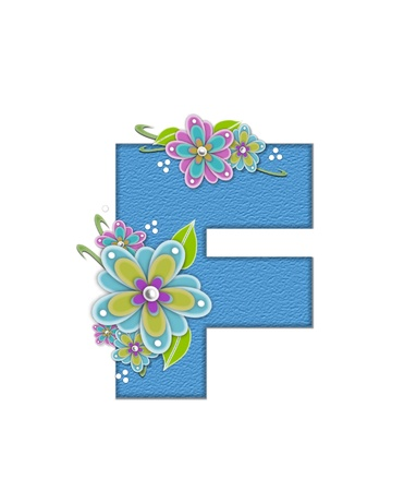 The letter F, in the alphabet set Alexis is blue with crinkled texture.  Letter is decorated with paper flowers, leaves and dots.