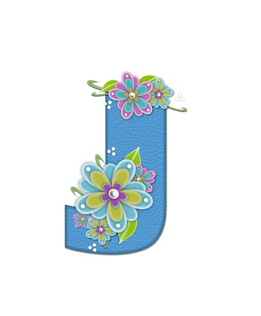 The letter J, in the alphabet set Alexis is blue with crinkled texture.  Letter is decorated with paper flowers, leaves and dots.