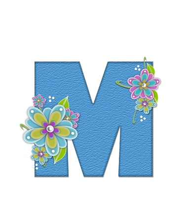 The letter M, in the alphabet set Alexis is blue with crinkled texture.  Letter is decorated with paper flowers, leaves and dots.