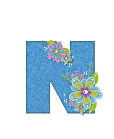 The letter N, in the alphabet set Alexis is blue with crinkled texture.  Letter is decorated with paper flowers, leaves and dots. Stock Photo