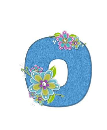 The letter O, in the alphabet set Alexis is blue with crinkled texture.  Letter is decorated with paper flowers, leaves and dots. Stock Photo