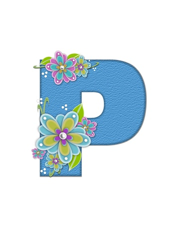 The letter P, in the alphabet set Alexis is blue with crinkled texture.  Letter is decorated with paper flowers, leaves and dots. Stock Photo
