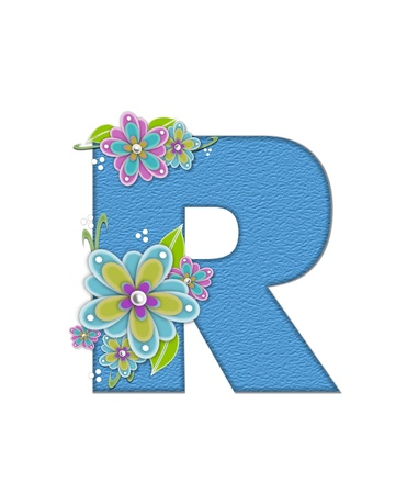 english letters: The letter R, in the alphabet set Alexis is blue with crinkled texture.  Letter is decorated with paper flowers, leaves and dots. Stock Photo