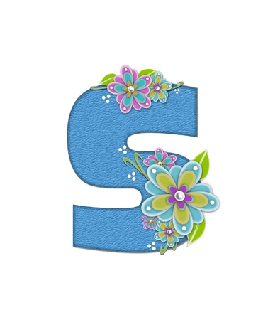 The letter S, in the alphabet set Alexis is blue with crinkled texture.  Letter is decorated with paper flowers, leaves and dots.