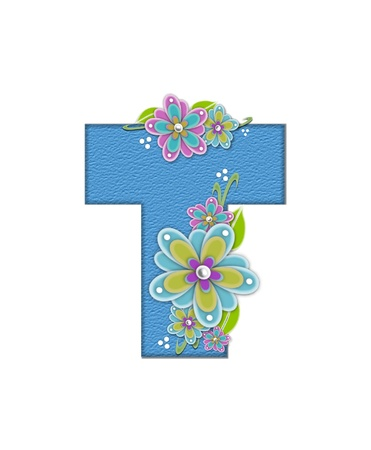 The letter T, in the alphabet set Alexis is blue with crinkled texture.  Letter is decorated with paper flowers, leaves and dots.