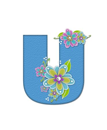 The letter U, in the alphabet set Alexis is blue with crinkled texture.  Letter is decorated with paper flowers, leaves and dots. Stock Photo