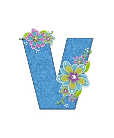 english letters: The letter V, in the alphabet set Alexis is blue with crinkled texture.  Letter is decorated with paper flowers, leaves and dots.