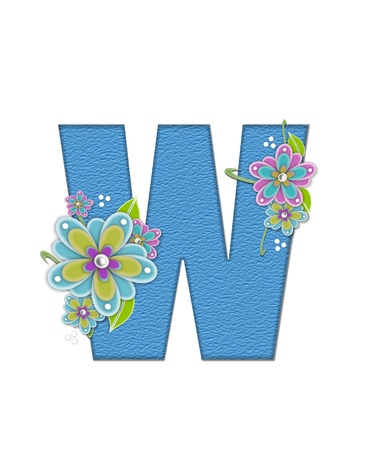 english letters: The letter W, in the alphabet set Alexis is blue with crinkled texture.  Letter is decorated with paper flowers, leaves and dots.