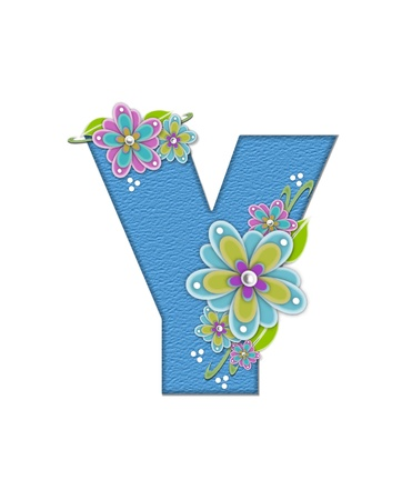 The letter Y, in the alphabet set Alexis is blue with crinkled texture.  Letter is decorated with paper flowers, leaves and dots. Stock Photo