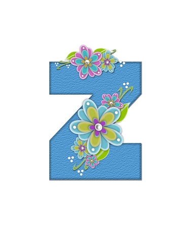 The letter Z, in the alphabet set Alexis is blue with crinkled texture.  Letter is decorated with paper flowers, leaves and dots.