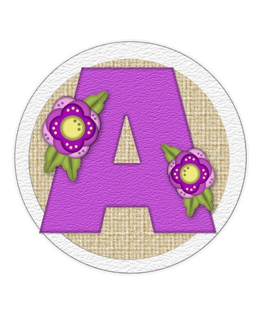 The letter A, in the alphabet set Back Porch Blooms is purple and sits on a straw mat.  Letter is decorated with purple flowers and leaves. Stock Photo