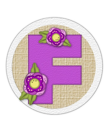 porch: The letter F, in the alphabet set Back Porch Blooms is purple and sits on a straw mat.  Letter is decorated with purple flowers and leaves.