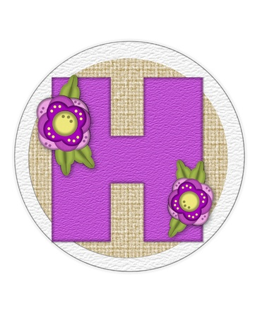 english letters: The letter H, in the alphabet set Back Porch Blooms is purple and sits on a straw mat.  Letter is decorated with purple flowers and leaves.