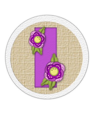 The letter I, in the alphabet set Back Porch Blooms is purple and sits on a straw mat.  Letter is decorated with purple flowers and leaves. Stock Photo