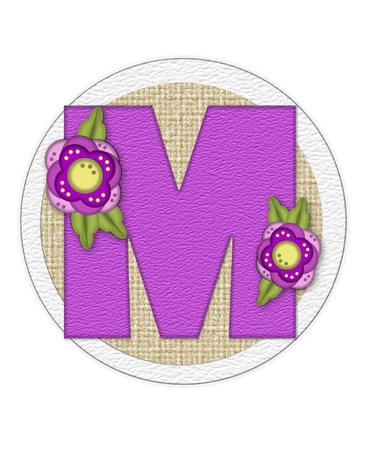 The letter M, in the alphabet set Back Porch Blooms is purple and sits on a straw mat.  Letter is decorated with purple flowers and leaves.
