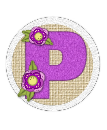 The letter P, in the alphabet set Back Porch Blooms is purple and sits on a straw mat.  Letter is decorated with purple flowers and leaves.