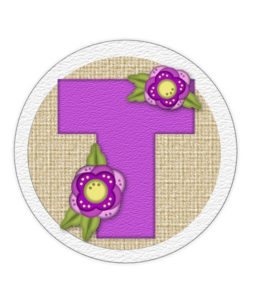 english letters: The letter T, in the alphabet set Back Porch Blooms is purple and sits on a straw mat.  Letter is decorated with purple flowers and leaves.