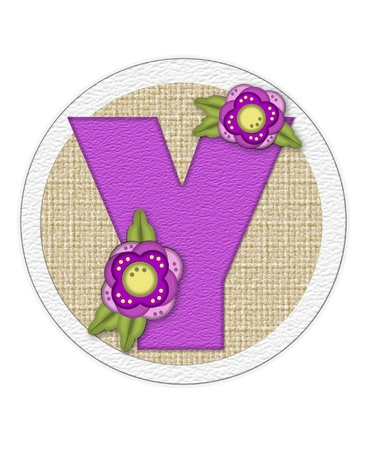english letters: The letter Y, in the alphabet set Back Porch Blooms is purple and sits on a straw mat.  Letter is decorated with purple flowers and leaves.