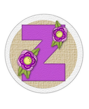porch: The letter Z, in the alphabet set Back Porch Blooms is purple and sits on a straw mat.  Letter is decorated with purple flowers and leaves.