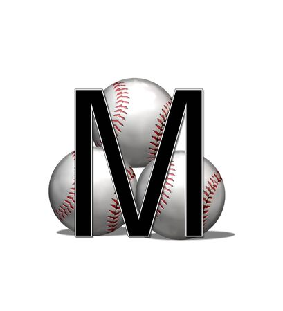 athletic type: The letter M, in the alphabet set Baseballs, is black and outlined with white.  Three baseballs form a pyramid style background behind letter.