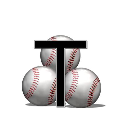 The letter T, in the alphabet set Baseballs, is black and outlined with white.  Three baseballs form a pyramid style background behind letter.