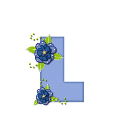 The letter L, in the alphabet set Blue Pansies is blue and is decorated with blue pansies and green leaves.