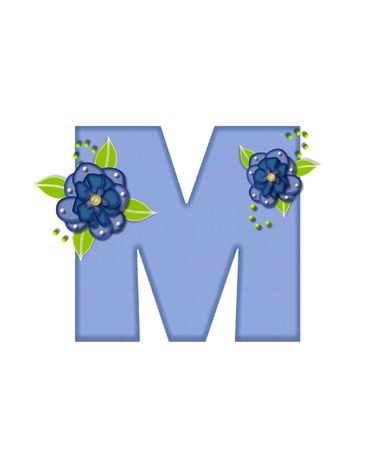 The letter M, in the alphabet set Blue Pansies is blue and is decorated with blue pansies and green leaves. Stock Photo