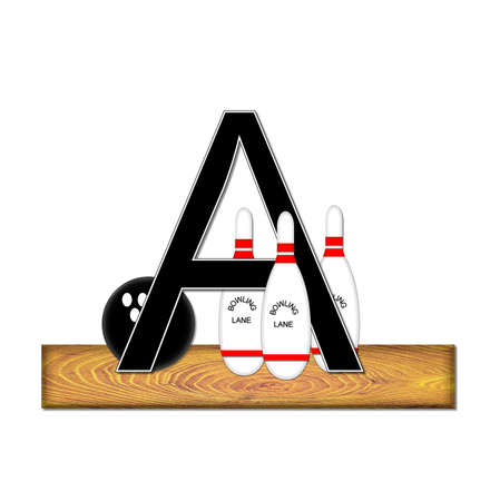 The letter A, in the alphabet set Bowling, is black with white border.  Bowling ball and pins sit on wooden lane with letter. photo