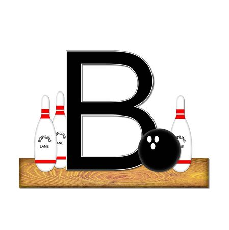 b ball: The letter B, in the alphabet set Bowling, is black with white border.  Bowling ball and pins sit on wooden lane with letter.