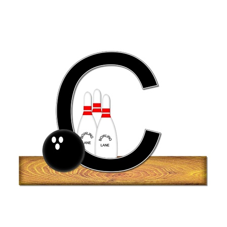 typographiy: The letter C, in the alphabet set Bowling, is black with white border.  Bowling ball and pins sit on wooden lane with letter. Stock Photo
