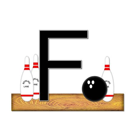 typographiy: The letter F, in the alphabet set Bowling, is black with white border.  Bowling ball and pins sit on wooden lane with letter.