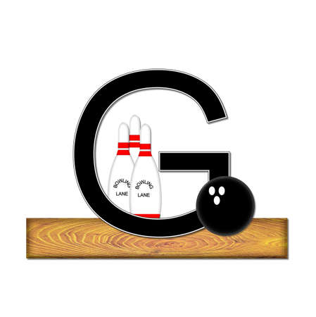 typographiy: The letter G, in the alphabet set Bowling, is black with white border.  Bowling ball and pins sit on wooden lane with letter.