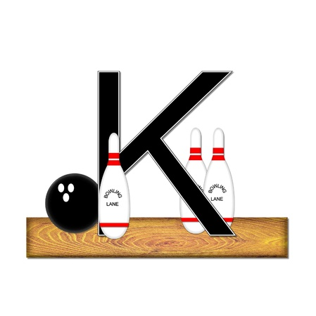 typographiy: The letter K, in the alphabet set Bowling, is black with white border.  Bowling ball and pins sit on wooden lane with letter.