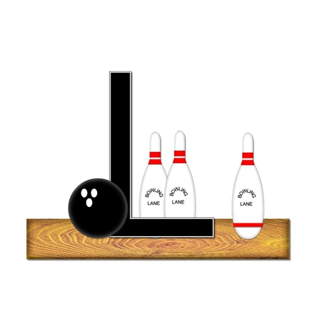 typographiy: The letter L, in the alphabet set Bowling, is black with white border.  Bowling ball and pins sit on wooden lane with letter.