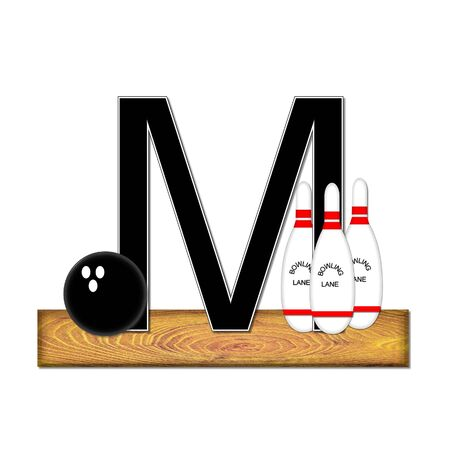 typographiy: The letter M, in the alphabet set Bowling, is black with white border.  Bowling ball and pins sit on wooden lane with letter.